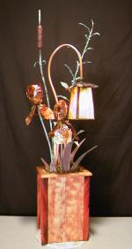 Copper Sculpture Water Fountains Lighting Custom Art
